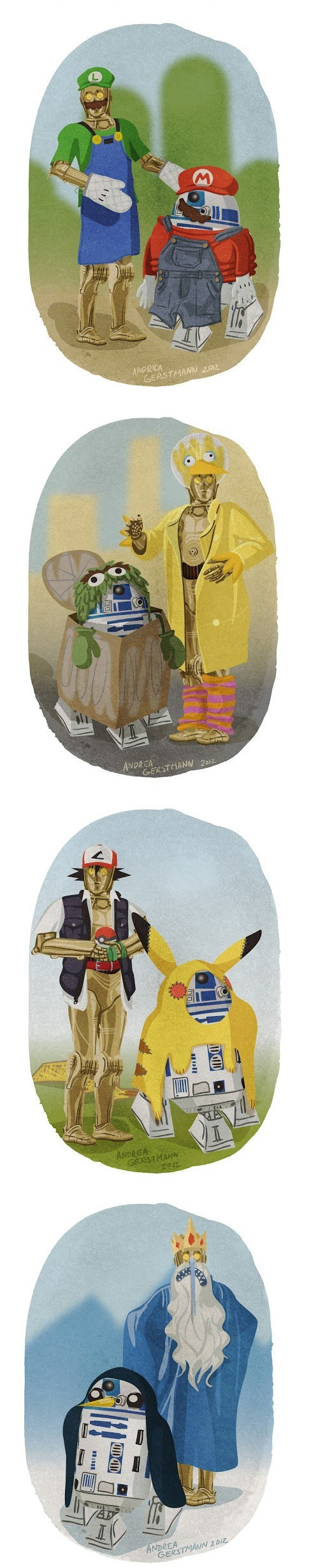 costume,Fan Art,halloween,c3p0,droids,mario,luigi,big bird,adventure time,Pokémon,star wars,oscar the grouch,ghoulish geeks,g rated,video games