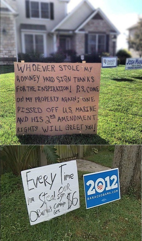 sign stealing barack obama Mitt Romney voters support - 6663226624