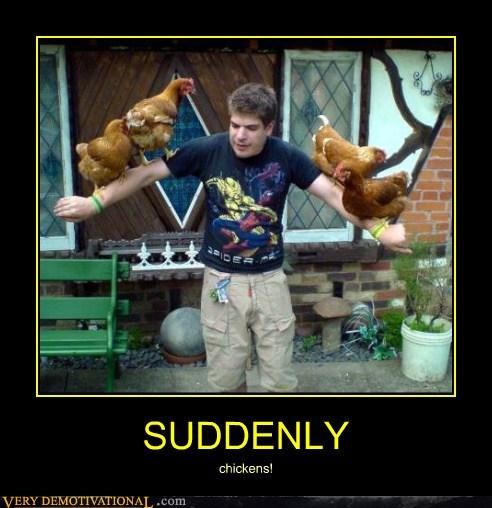 suddenly weird guy chickens - 6663292416