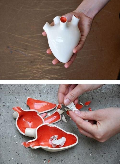 bank heart break ceramic messages