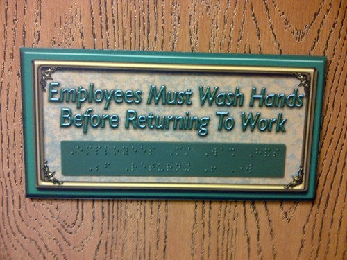 sign,work,germs,gross,sanitary