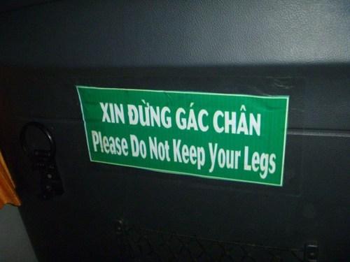 engrish legs sign spelling grammar dismember - 6663610624