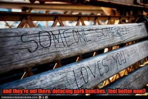 love,vandalism,hipster edit,park bench