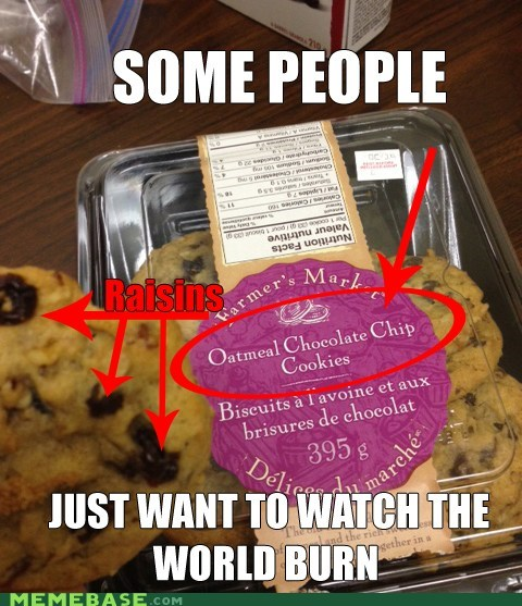 cookies,evil,some people,oatmeal,chocolate chip,raisins