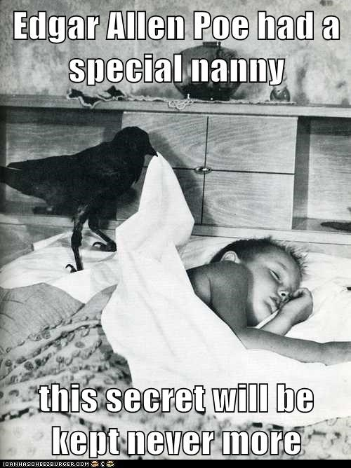 bed,raven,kid,nanny,crow