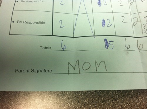 mom,parent signature,forgery,homework