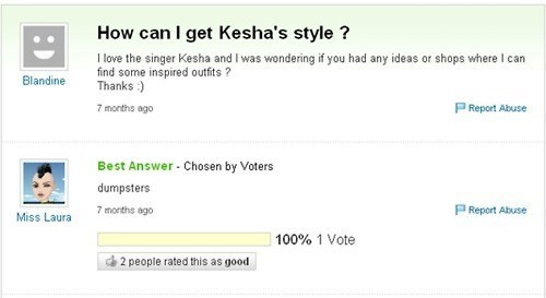 very funny Yahoo Answers thread in which someone asks how to get that Kesha's style and someone answers, 'the dumpster', implying she is total trash.
