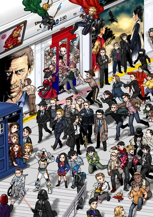 Fan Art doctor who house Thor loki anime Supernatural cant-tag-em-all