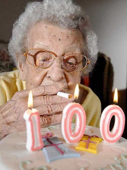 old lady birthday cake smoking cigarettes - 6665887232