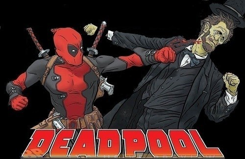 deadpool,abraham lincoln,punch,art