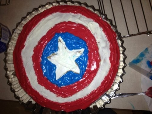 captain america shield cake - 6665906176