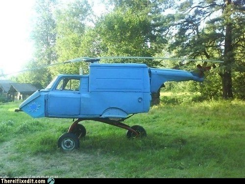 helicopter helivuckelbarrow truck wheelbarrow van bicycle