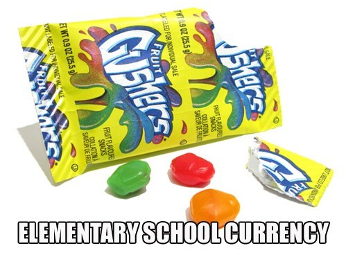 gushers,currency,school,fruit,snacks