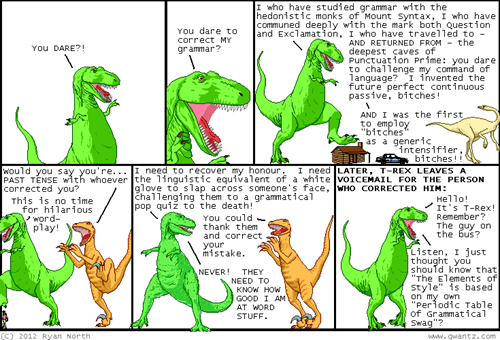 dinosaur comics,grammar,grammar nazi
