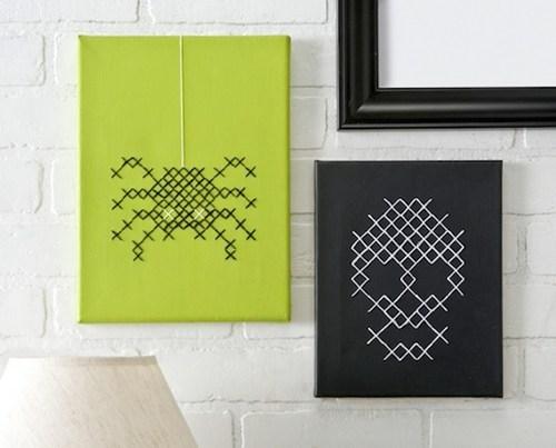 DIY craft cross stitch skull spider halloween art - 6666416640
