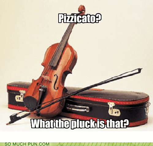 pizzicato,pluck,expletive,similar sounding,related