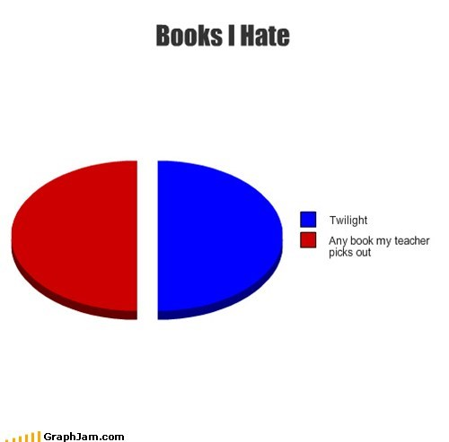 books,school,pie charts,twilight,reading