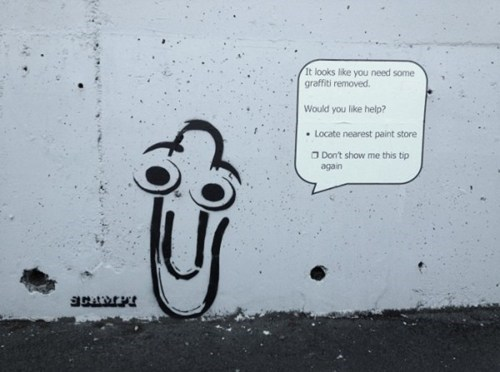 clippy,Street Art,word art,microsoft word,graffiti,hacked irl