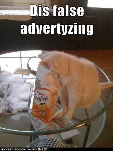 goldfish Ad advertising false advertising snack noms food Cats captions - 6667036672