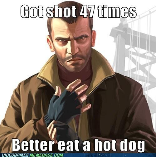 niko bellic,Grand Theft Auto,hot dog,health,healed,video game logic