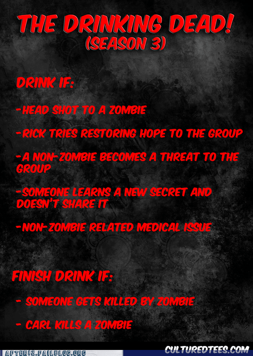 The Walking Dead,cultured tees,drinking games,zombie