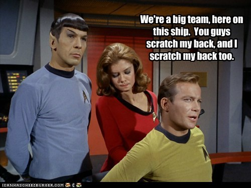 Captain Kirk,Spock,back scratching,Leonard Nimoy,Star Trek,William Shatner,Shatnerday,team
