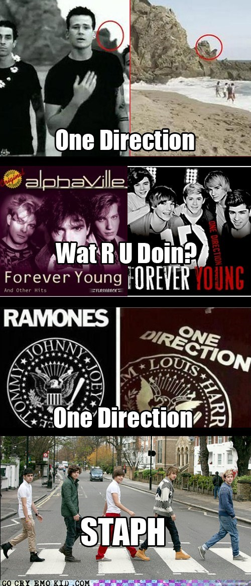 one direction boy bands forever young bad music ramones beatles - 6670664704