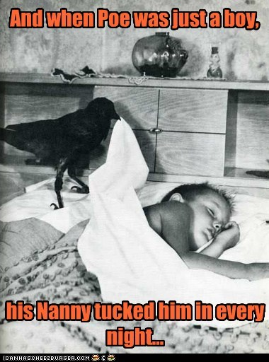 edgar allen poe,crow,raven,boy,kid,bed,tucked in,nanny