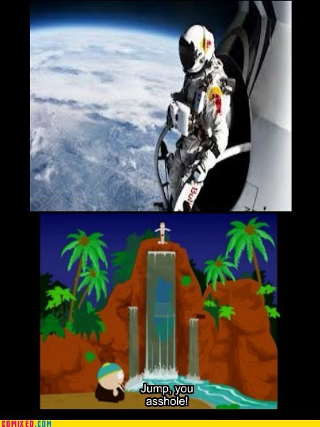 felix baumgartner,space jump,jump,South Park,news