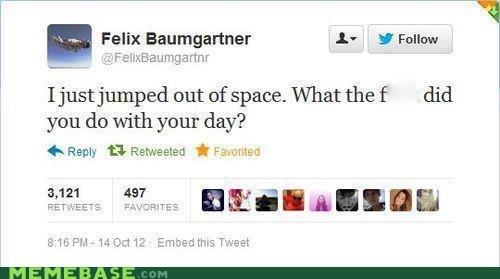 space jump,felix baumgartnr,twitter,space,nasa