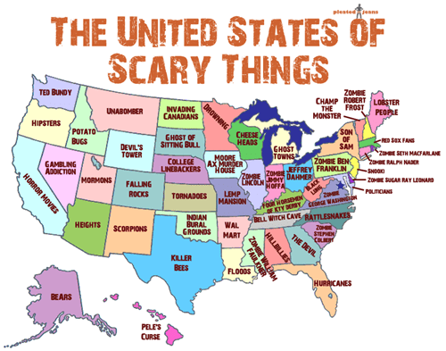 pleated jeans US Map america halloween scary - 6674509056
