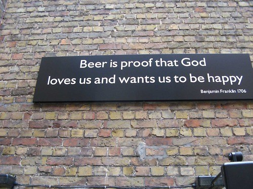 ben franklin Wasted Wisdom beer proof happiness