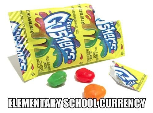 elementary school,currency,bag lunch,gushers