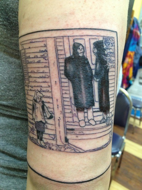 comic,Death,leg tattoos
