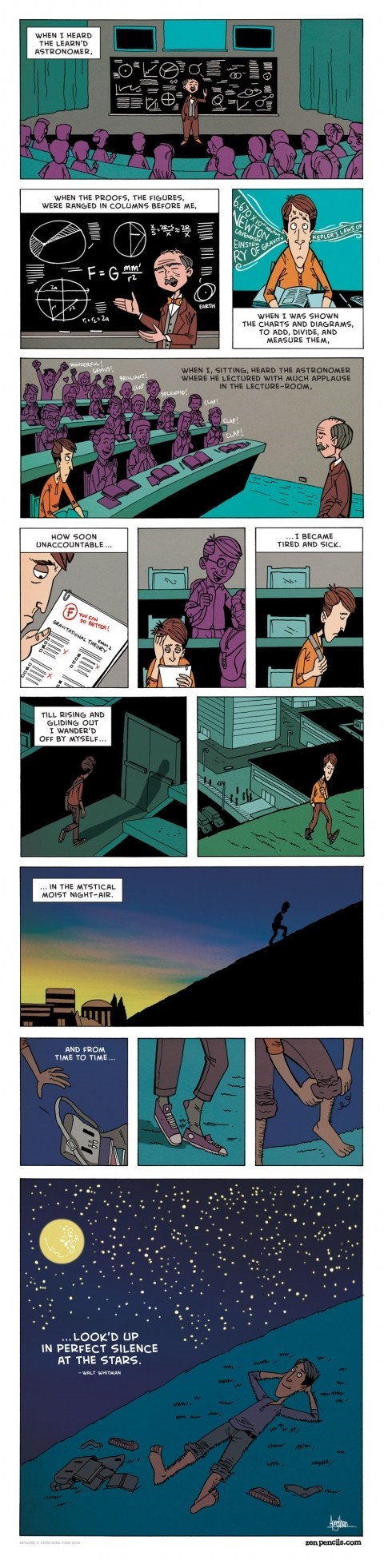 zen pencils,class is in session,walt whitman,Astronomy,poetry