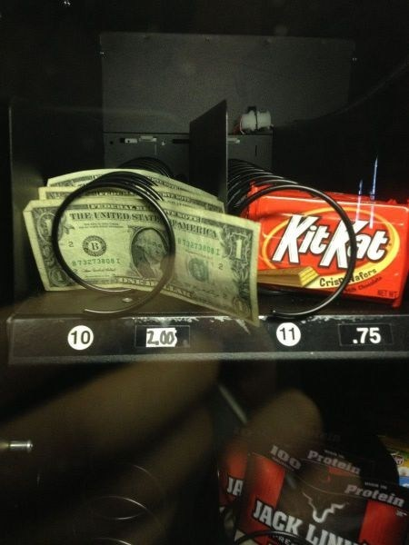 dollar bills,vending machine,shoppers beware,IRL