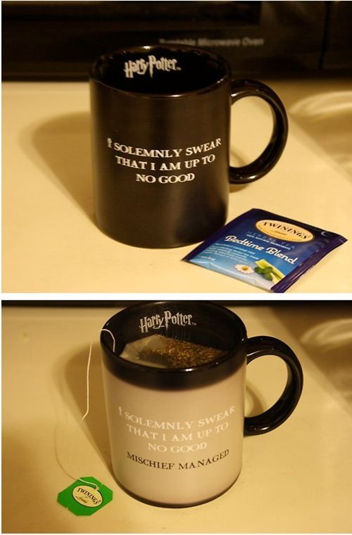 Harry Potter,mischief managed,marauders map,mug,tea,magic
