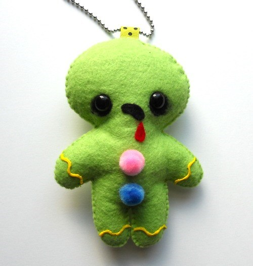 ginger bread man,Plush,felt,ornament,decor,zombie,green