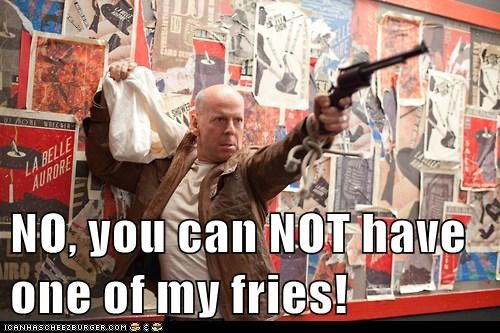 joe,bruce willis,fries,gun,eating,no,fast food,looper