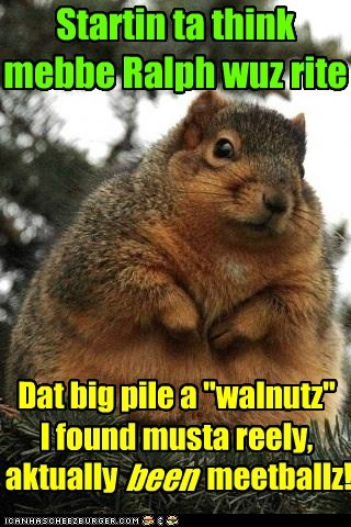 fat right found squirrel meatballs walnuts - 6675932416