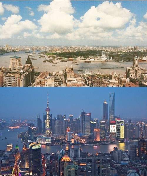 cityscape Then And Now shanghai China