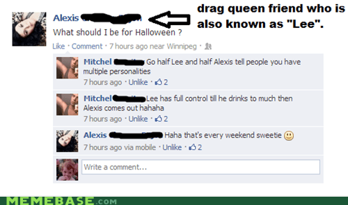 drag,facebook,halloween,multiple personalities