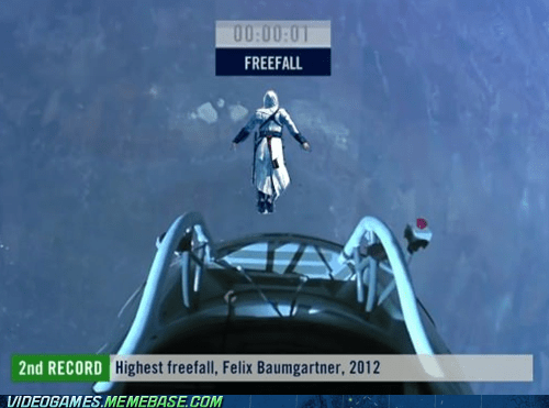 assassins creed,felix baumgartner,freefall,Leap of Faith