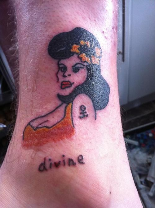 pin up,Divine,ankle tattoos