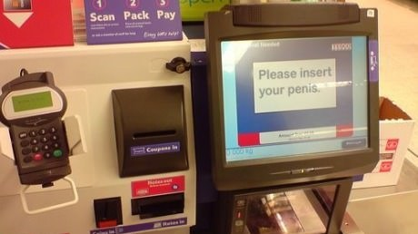 peen jokes,self checkout,insert,grocery store