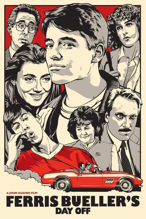 funny Movie poster 80s art nostalgia ferris buellers day off matthew broderick ferris-buellers-day-off - 6677968384