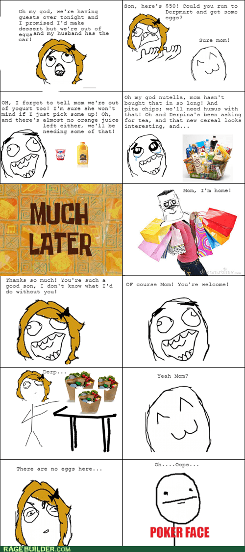 groceries,eggs,poker face,parenting