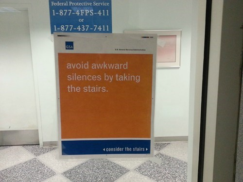 socially awkward penguin awkward silence take the stairs
