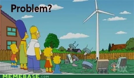 problem simpsons green energy wind turbine fans troll science