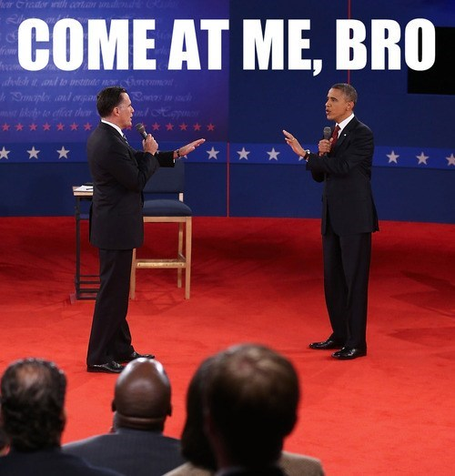 Mitt Romney,barack obama,come at me bro,tense,debate,stand off